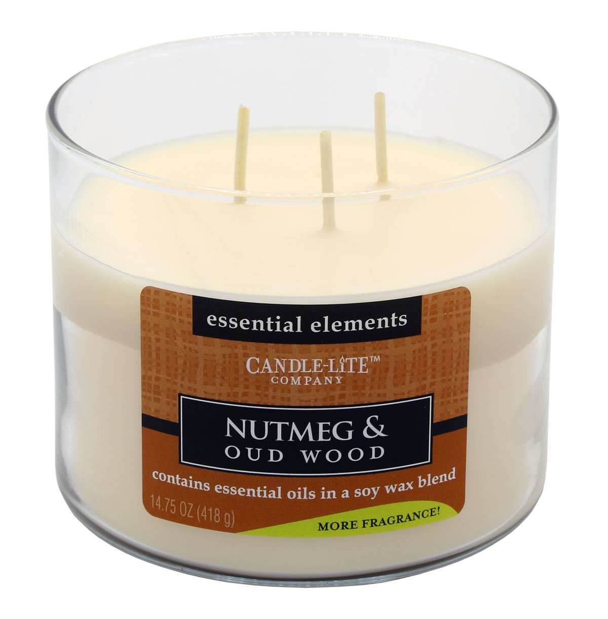 Candle Lite–3stoppino candela profumata in barattolo di vetro, Noce moscata & Oud Wood 418G, Bianco, 11.5x 11.5x 9cm Candle-liteTM 1542322