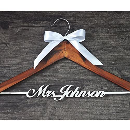 Personalized wedding hanger with bow custom for Wedding dress hanger amazon