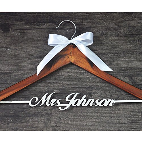 Personalized Wedding Hanger with Bow, Custom Wedding Name Hanger, Personalized Bridal Hanger Bridesmaid Hangers, Bridal Shower Gift