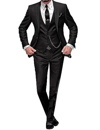 7c2dc17b5cfc Black Suits for Men Classic Fit 3 Piece Stylish Tuxedo Pants Sets to A Dance