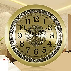 YYL European Solid Brass Wall Charts,Antique Accessories Wall Clock,Living Room Quiet British Creative Fashion Watches-B
