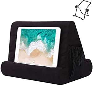 HOME-MART Tablet Pillow Stand for iPad, Multi Angle Soft Pillow Pad Phone Pillow Lap Stand, Universal Reading Tablet Stand Pillow Holder, Lap Stand Mobile Phone Holder (Black)