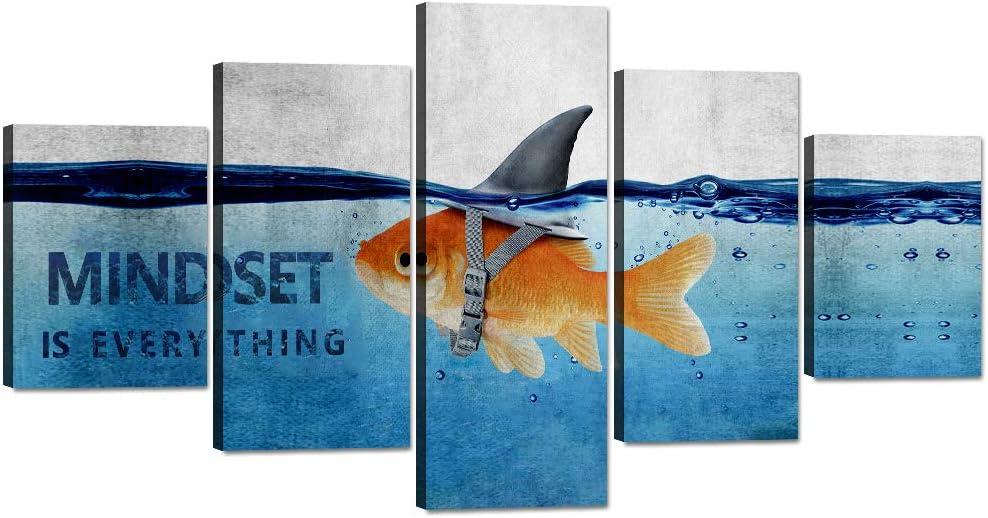 "Yatsen Bridge Goldfish Canvas Painting Shark Wall Art Pictures 5 Panels Animal Poster Modern Inspiring Print Artwork Wooden Home Decor for Living Room Bedroom Office Framed Ready to Hang (60""Wx32""H)"