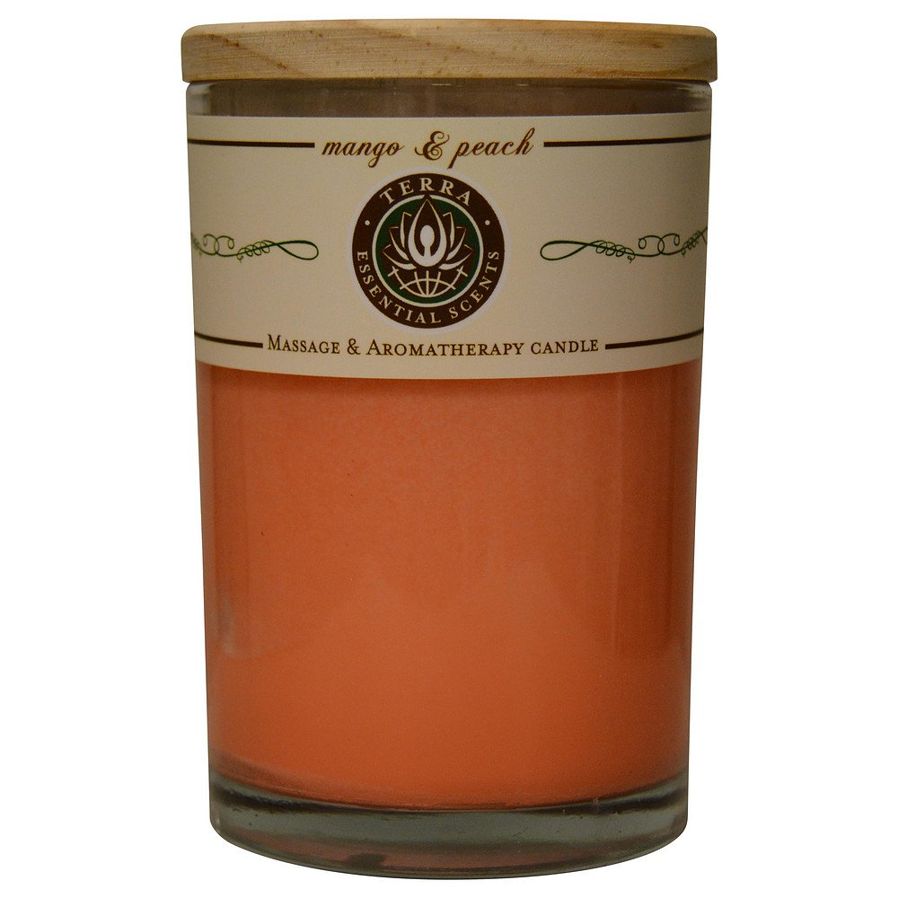 MANGO & PEACH by MASSAGE & AROMATHERAPY SOY CANDLE 12 OZ TUMBLER. A REFRESHIN. (Package of 2)