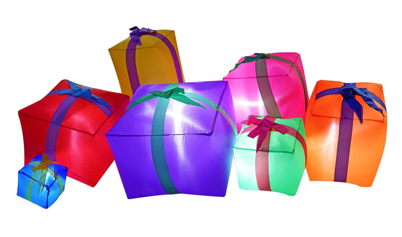 JF deco Décorations gonflables de Noël de 1.8m, Lanterne de 7 boîtes-Cadeaux pour l'intérieur Dehors