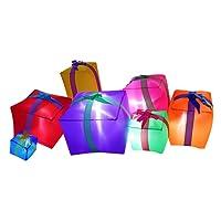 JF deco 1,8 m Decorazioni gonfiabili di Natale, 7 scatole Regalo Lanterna per Interni all'aperto