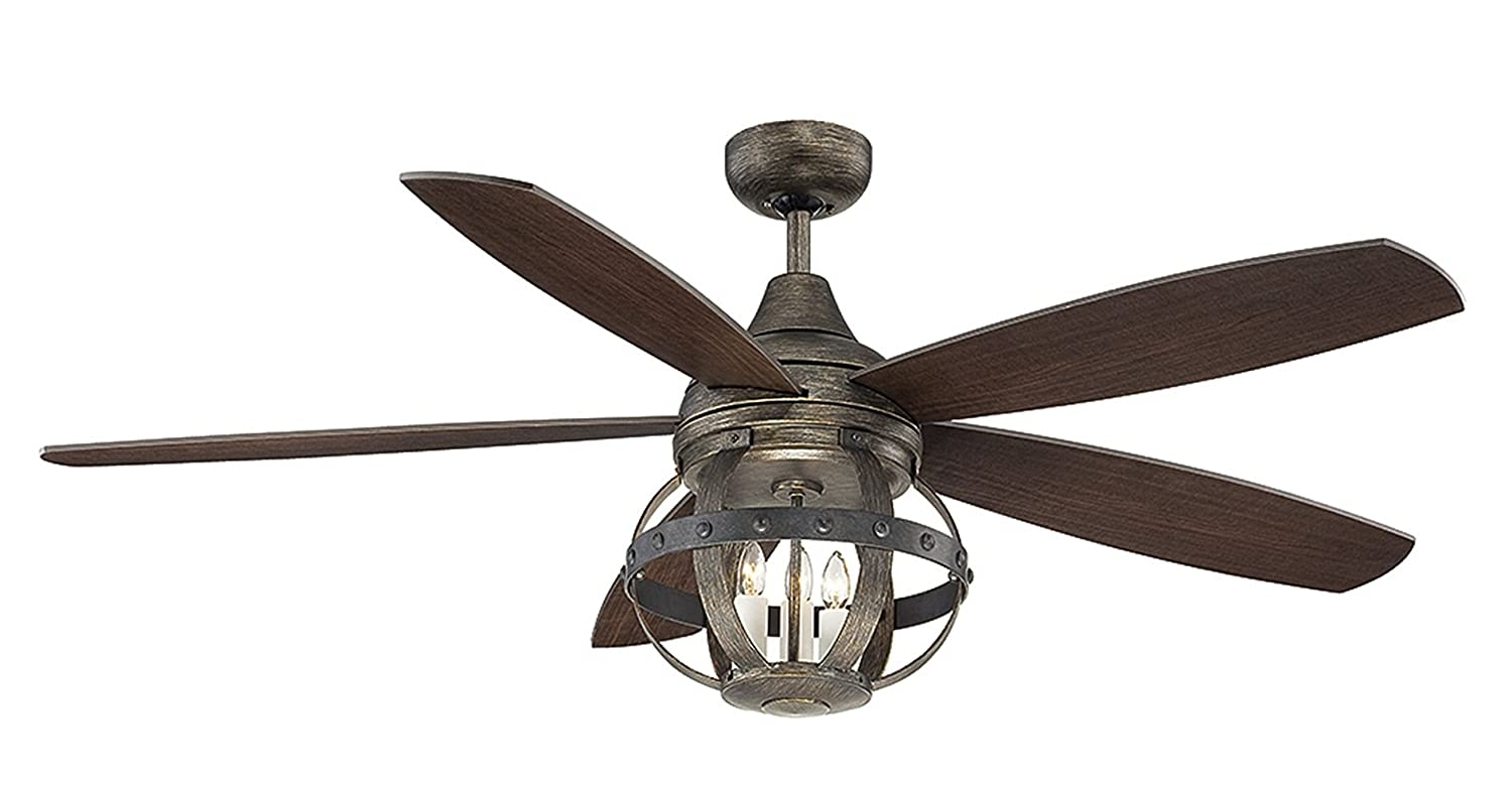 52 In Ceiling Fan: Savoy House Lighting 52-840-5CN-196 Alsace 3 Light 5-Blade Damp-Rated Ceiling  Fan with Chestnut Blades, 52-Inch, Reclaimed Wood Finish - - Amazon.com,Lighting