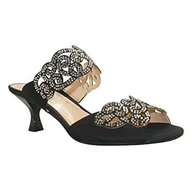 J. Renee Women's Francie Dress Slide,Black Satin/Rhinestones,US ...