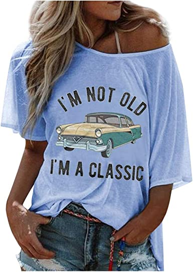 Womens Letter Printing Tunics Short Sleeve Shirts Round Neck Blouse Casual Loose Tops
