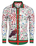 COOFANDY Mens Fashion Long Sleeve Luxury Print Shirts,Pink,X-Large