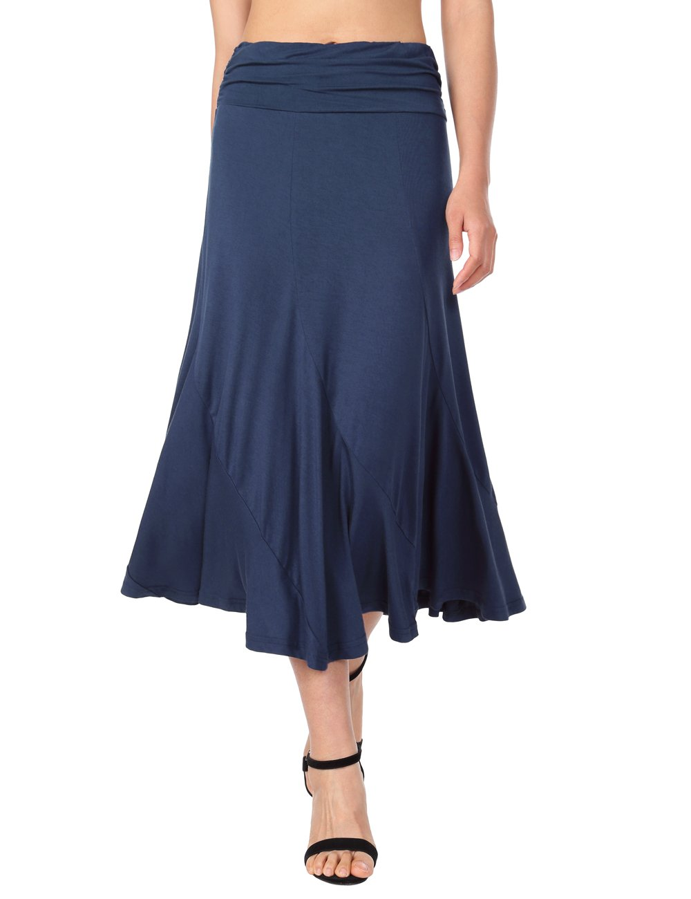 DJT FASHION Pleated Midi Skirt,DJT Women's Vintage High Waist Shirring A-Line Long Midi Skirt X-Large Navy