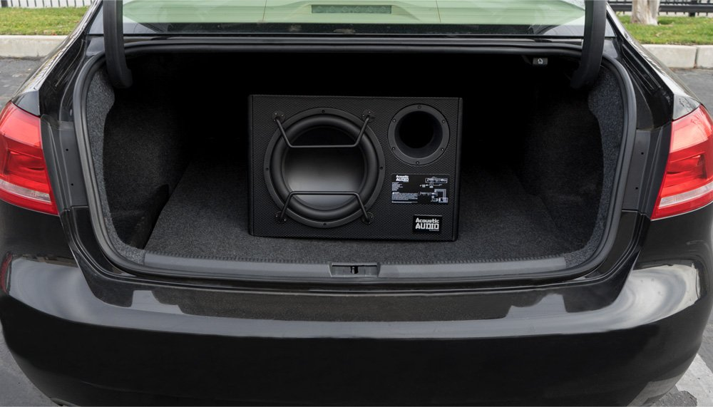 Acoustic Audio by Goldwood Acoustic Audio ACA10W Powered Amplified 10 Car Ported Subwoofer 800 Watts with Wiring Kit and Remote Level Control Black