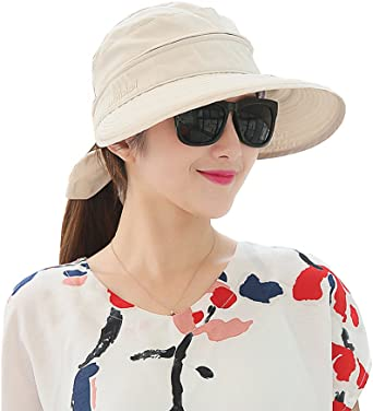 HINDAWI Sun Hats for Women Summer Bill Flap Cap Wide Brim UV Protection Beach Hat
