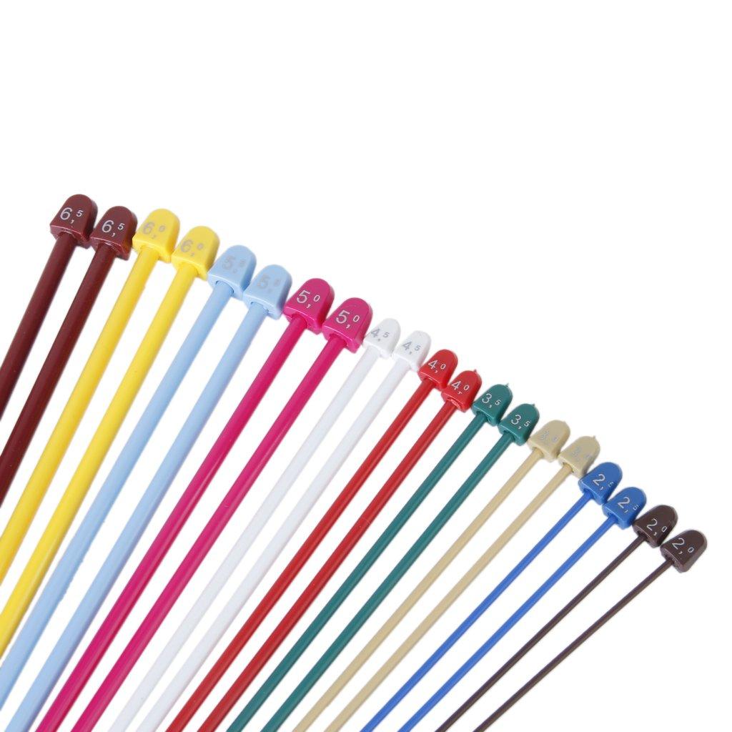 20pcs Multicolores Agujas de Tejer de 10 Tamaños de Plástico: Amazon ...