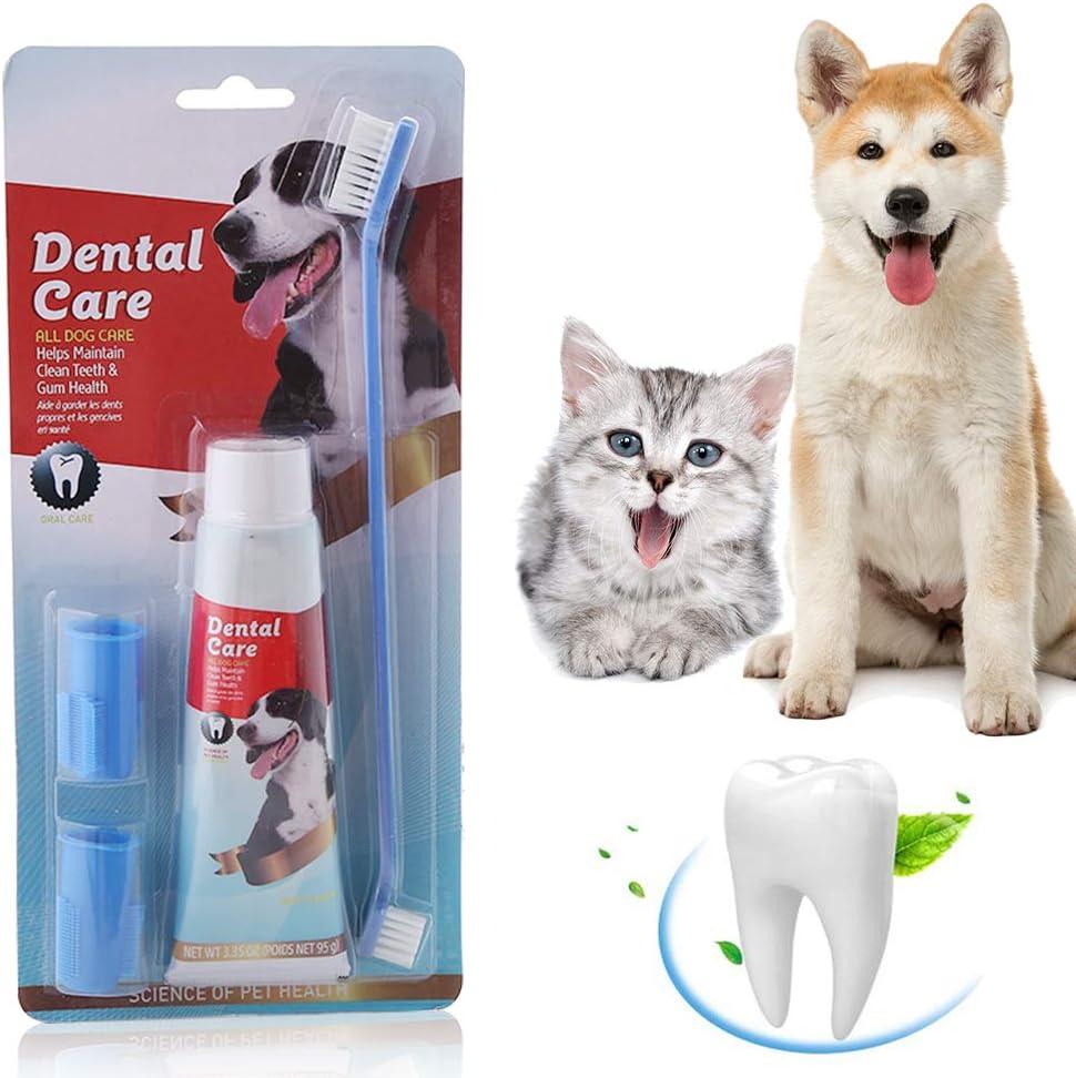 SEGMINISMART Pasta de Dientes para Perros,Set Higiene Dental con Cepillo de Dientes, Pasta y cepillos Dedos,Pasta Dental para Perro Elimina el sarro y la Placa Dental