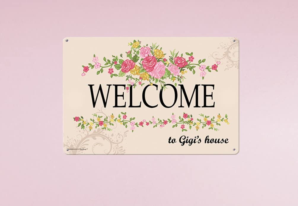 Gigi Gifts Welcome to Gigis House Metal Decorative Sign Home Decor Kitchen Sign Novelty Sign
