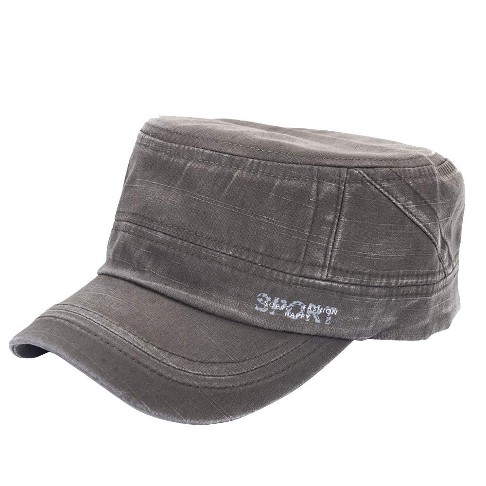 Unisex Summer Outdoors Sport Cap Letters Printed Sun Hat Newsboy Berets Caps Vintage Washed Oldschool Flat Hat (Green)