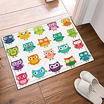 NYMB Animals Decor Colorful Owl For Kids Bath Rugs, Non Slip Floor  Entryways Outdoor Indoor Front Door Mat,16X24 Inches Bath Mat