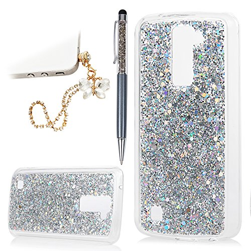 YOKIRIN LG Premier LTE,LG K10 Case Bling Glitter Powder Transparent Clear Full Body Protective Shell Soft Flexible TPU Frame + Hard PC Back Cover with Bowknot Dust Plug & Pen - Sliver