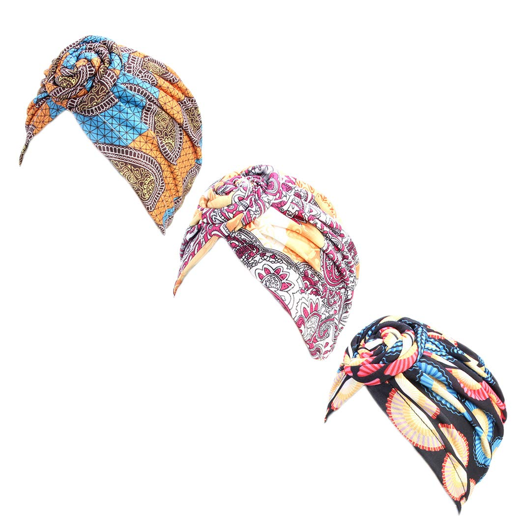 DANMY Women's Autumn Winter Knotted Hat Wrap Cap India's Hat Turban Headwear ... (Orange/Rose red/black-3pcs) by DANMY