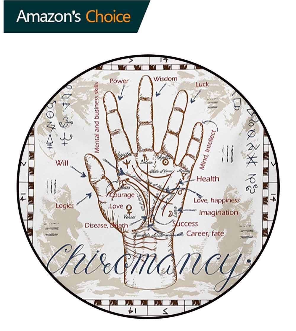 RUGSMAT Occult Round Area Rug,Vintage Chiromancy Chart with an Human Hand Palm Mystic Science of Universe Image Print Indoor/Outdoor Round Area Rug,Round-55 Inch Beige