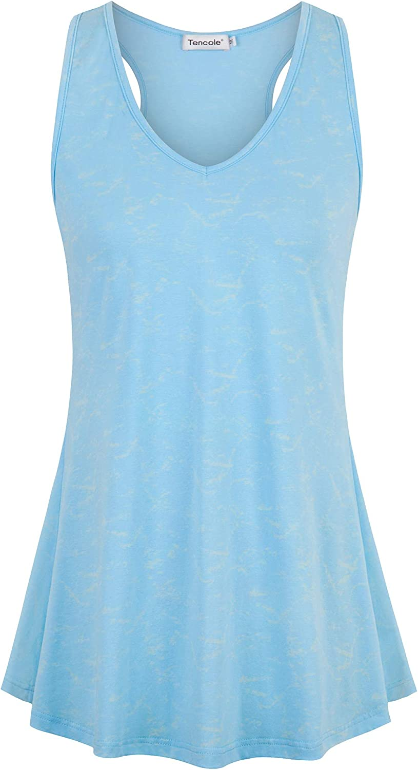 Tencole Womens Summer Shirts with Pattern Sleeveless Casual Racerback Workout Tank Tops