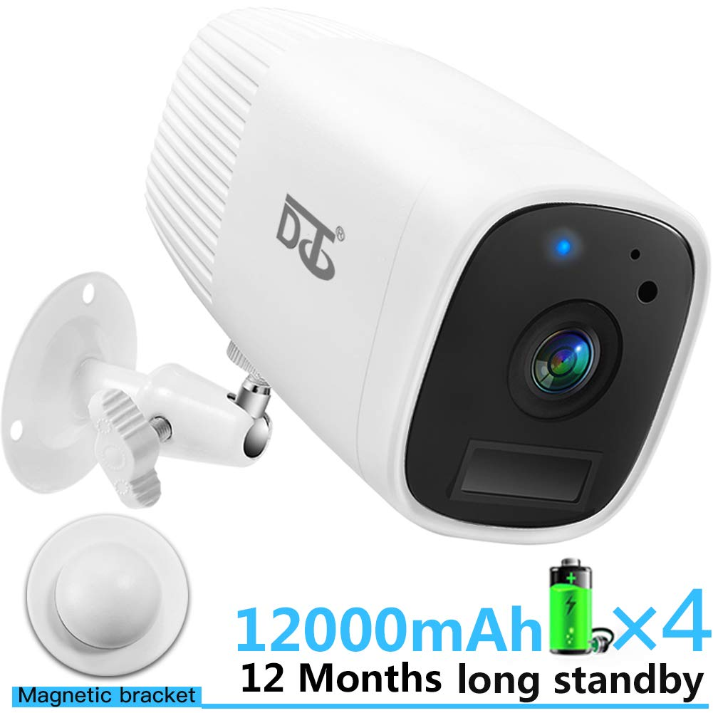 Wireless Security Camera HD 1080P Outdoor/Indoor Surveillance Cameras -Two Way Audio Talk WiFi Camera, PIR Motion Sensor IR Night Vision Detection, Build in Rechargeable Batteries SD Card Slot White by DCT