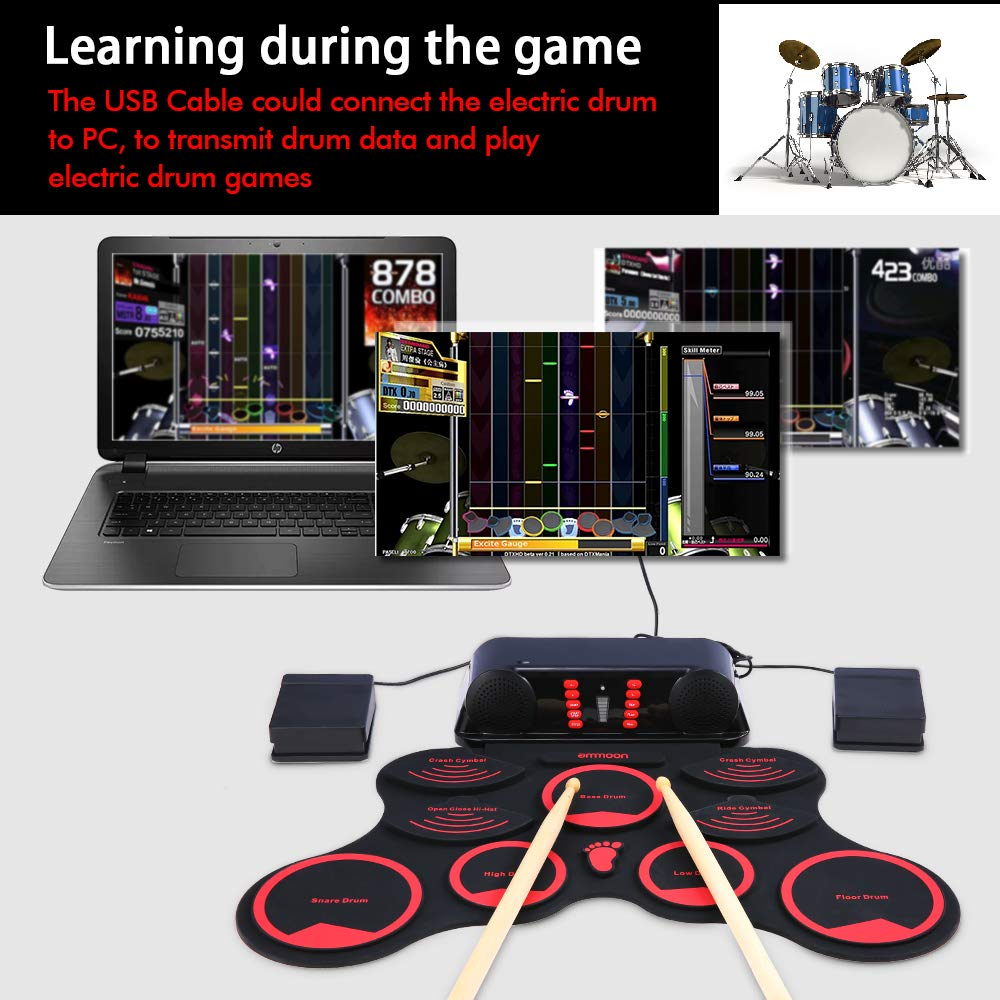 ammoon Electronic Roll-up Drum Set Digital MIDI Drum Kit 9 Silicon Durm Pads Built-in Stereo Speakers Rechargeable Lithium Battery with 2 Foot Pedals for Kids Children Beginners by ammoon (Image #3)