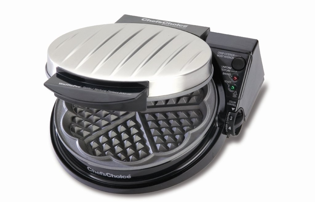 Chef'sChoice 830-SE WafflePro Taste and Texture Traditional Five-of-Hearts Nonstick Waffle Maker Easy to Clean Instant Temperature Recovery, 5-Slice, Silver
