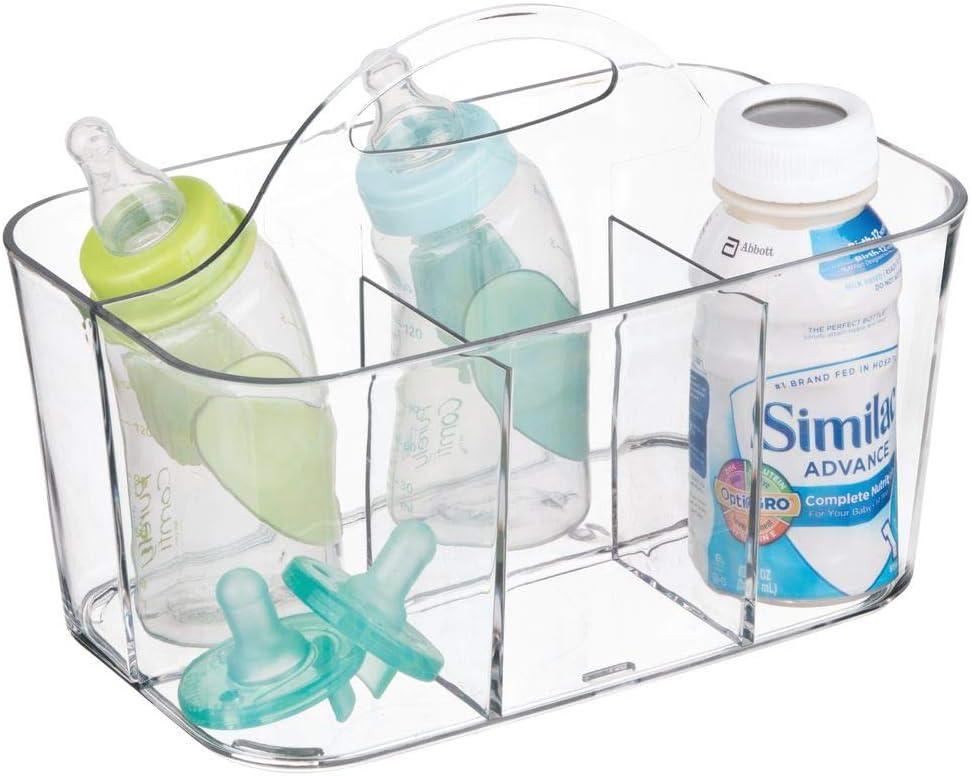 Ordnungssystem aus BPA-freiem Kunststoff f/ür Babyzubeh/ör /& Co mit Griff zum Transportieren rosa mDesign 2er Set Aufbewahrungsbox Kinderzimmer mit 4 F/ächern zur Babynahrung Aufbewahrung z B