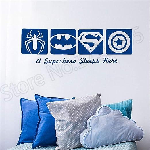 A SUPERHERO SLEEPS HERE batman spiderman wall sticker bedroom kids decor