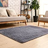YOH Soft Sofa Area Rugs Girls Room Decor Fluffy Grey Rugs for Bedroom Living Room 4'x 5.3'