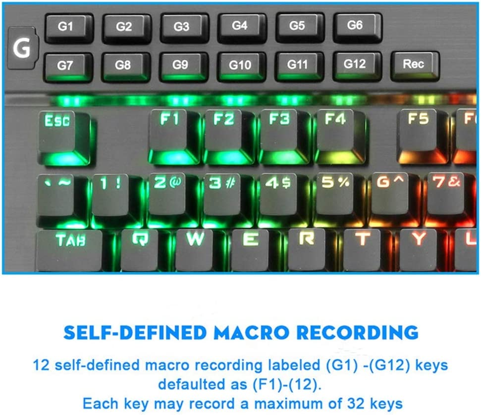 Suitable for Games and Typing People Mechanical Gaming Keyboard Black Macro Programming Led Backlight Green Axis USB Cable