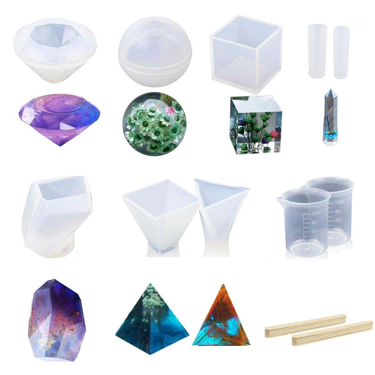 Yoodelife Resin Casting Molds Large10 Pack Clear Silicone Epoxy Resin Molds for Jewelry Making, with Measurement Cups& Wood Sticks, Including Sphere/Cube/Diamond/Pyramid/Triangular Pyramid/Stone Shape