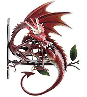 Metal Dragon On Branch Wall Art   11.5 L X 5.25 W X 14.25 H