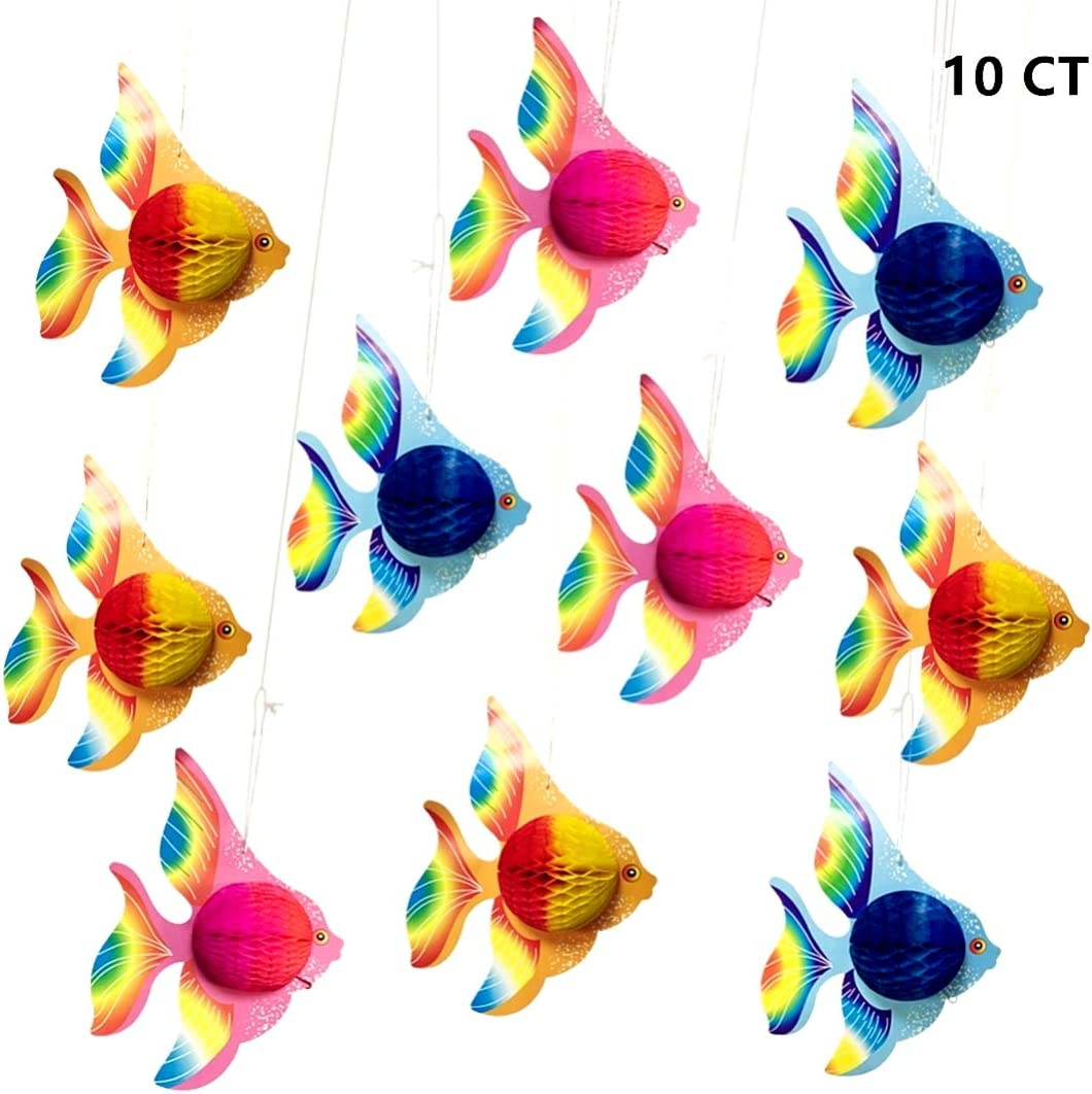 "10pcs Tissue Fish Decoration - 10"" Tropical Fish Party Decoration for Fish/Under the Sea/Mermaid/Ocean/Beach Themed Birthday Party Luau Decorations"