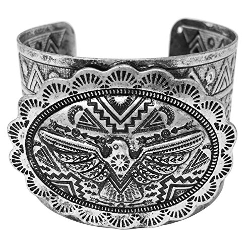 - Gypsy Jewels Burnished Silver Tone Wide Statement Cuff Bangle Bracelet (Tribal Eagle Concho)