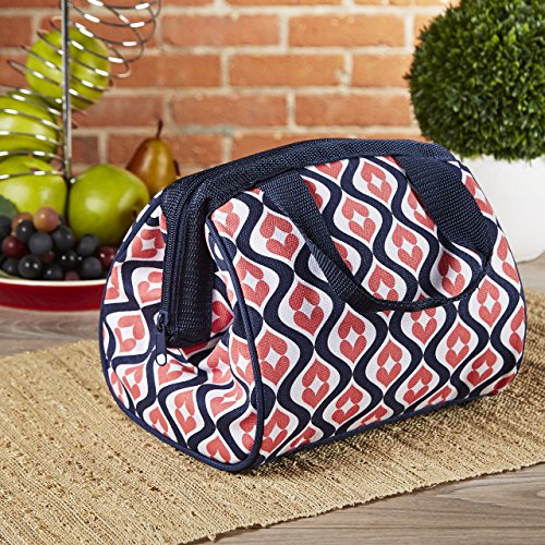 Fit & Fresh Women's Charlotte Insulated Lunch Bag with Zipper Closure and Ice Pack, Ideal Size for Work or School, Navy Coral Heart