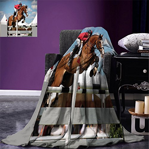Horse Decor Throw Blanket Jumping Horse and Sportsman for sale  Delivered anywhere in Canada