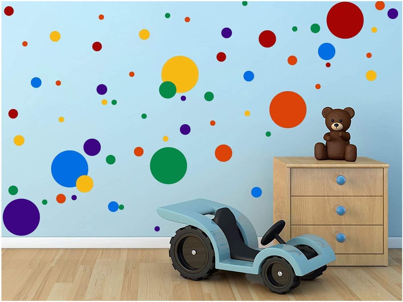 Amazon Com Toarti Polka Dots Wall Decals 132 Decals Easy To Peel Stick Polka Dots Wall Decals Safe On Walls Paint Removable Primary Colors Vinyl Polka Dot Decor Round Wall Stickers For Nursery Room Multicolor