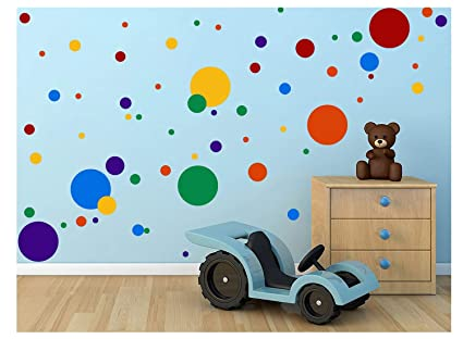 Toarti Polka Dots Wall Decals 132 Decals Easy To Peel Stick Polka Dots Wall Decals Safe On Walls Paint Removable Primary Colors Vinyl Polka Dot Decor