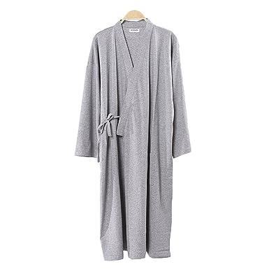 Männer Japanische Stil Robes Pure Baumwolle Kimono Pyjamas Dressing ...