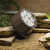 Kichler Lighting 15753AZT LED Accent Light 9-Light Low Voltage 60 Degree Wide Flood Light, Textured Architectural Bronze with Clear Tempered Glass