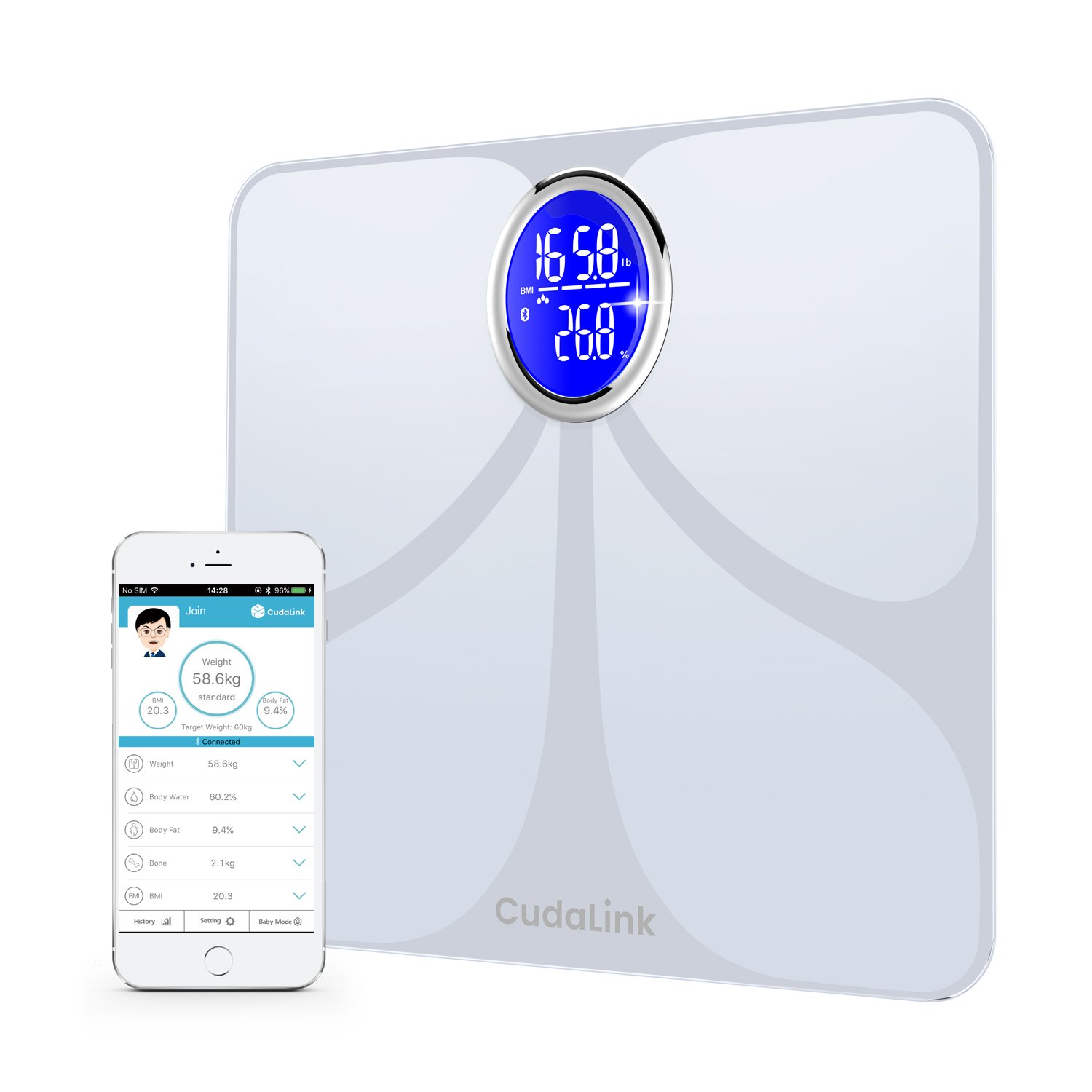 Accurate Bathroom Digital Weight, Body Fat, and Body Mass Scale | Bluetooth Rounded LED Display, Aluminum Electrodes & Tempered Glass Composition Scale | 8 Key Metrics & iOS/Android App (White)