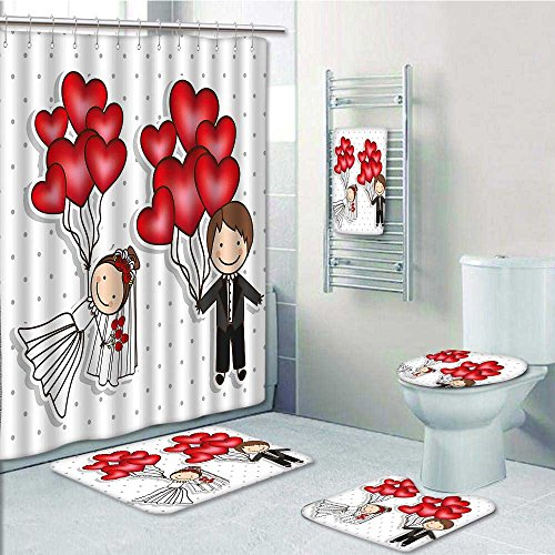 aolankaili 5-Piece Bathroom Set-Includes Shower Curtain Liner, Style Newlyweds with Heart Shaped Balloons Dots Red White BlackPrint Bathroom Rugs Shower Curtain/Bath Towls Sets(Large (Red Heart 5 Jet)