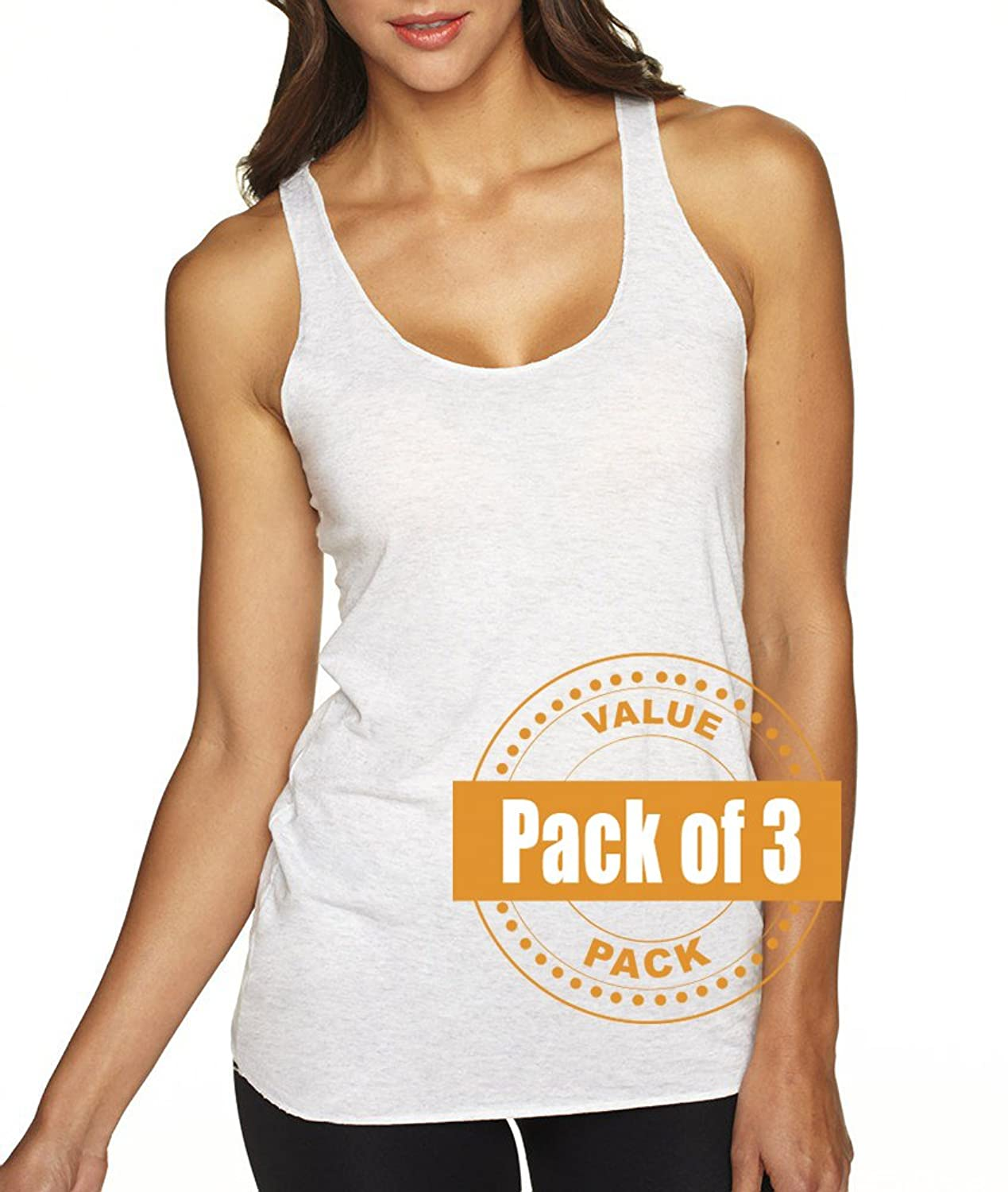 Next Level Womens Tri-Blend Racerback Tank Top 6733-Heather White (3 Pack)
