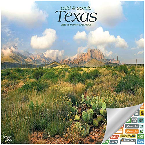 Texas Wild & Scenic Calendar 2019 Set - Deluxe 2019 Texas Wall Calendar with Over 100 Calendar Stickers (Texas Gifts, Office Supplies)