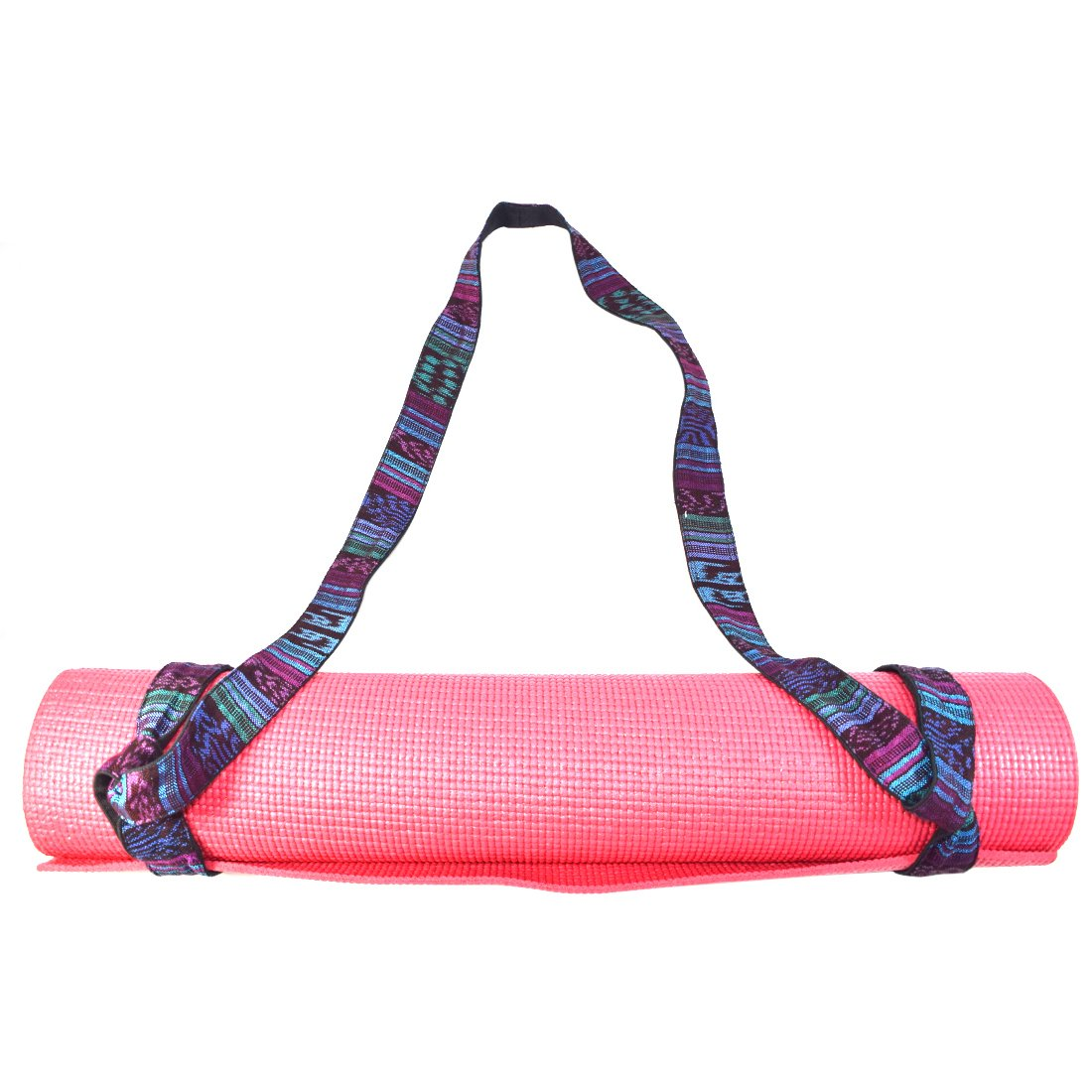 Santa Playa Yoga Mat Sling 6 Foot Handcrafted with Back Strap Loomed Native Tribal Textiles and Durable Cotton by Tropical Blue