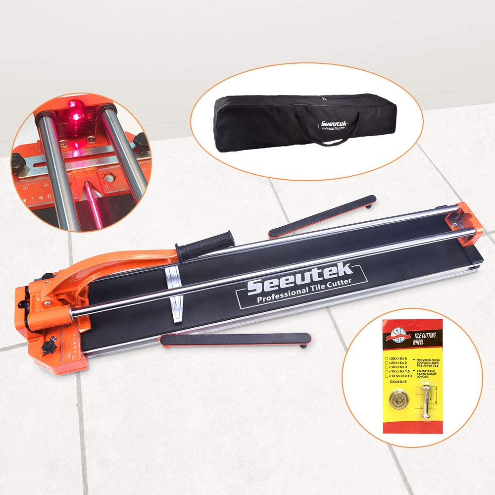 Manual Tile Cutter With Tungsten Carbide Scoring Wheel for Porcelain Ceramic Floor Tile W/Adjustable Laser Guide Bonus Spared Cutting Wheel & Storage Bag by Seeutek