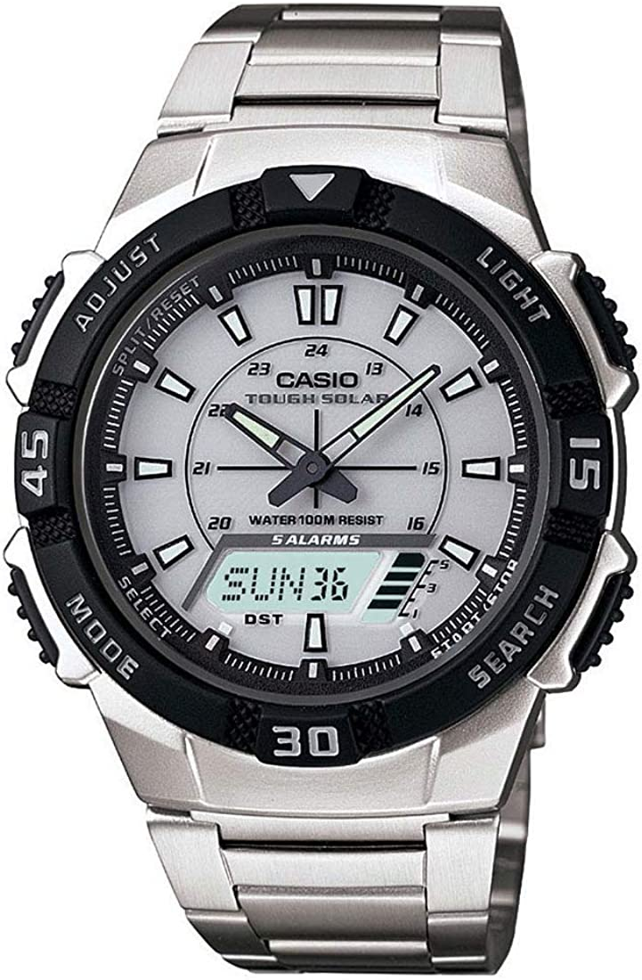 Casio Men s AQS800WD-7EV Silver Stainless-Steel Quartz Watch with White Dial